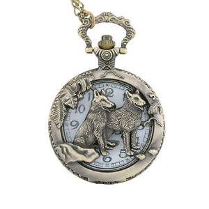 Wolf-Antique-Mechanical-Quartz-Pocket-Watch-Steampunk-Open-Case-Chain-Pendant-US