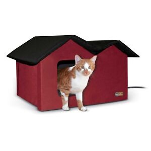 KH-Mfg-EXTRA-WIDE-2-Exit-Outdoor-Multiple-Cat-Pet-House-HEATED-Red-Black