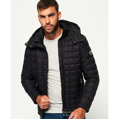 New Mens Superdry Hooded Box Quilt Fuji Jacket Black