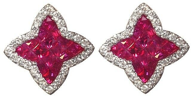0.89cts NATURAL DIAMOND 14k WHITE gold RUBY WEDDING ANNIVERSARY STUD EARRING