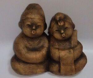 Vtg-Estatuilla-de-Estatua-Asiatica-Ninos-Japones-Chino-Budista-Sentado-Cantando