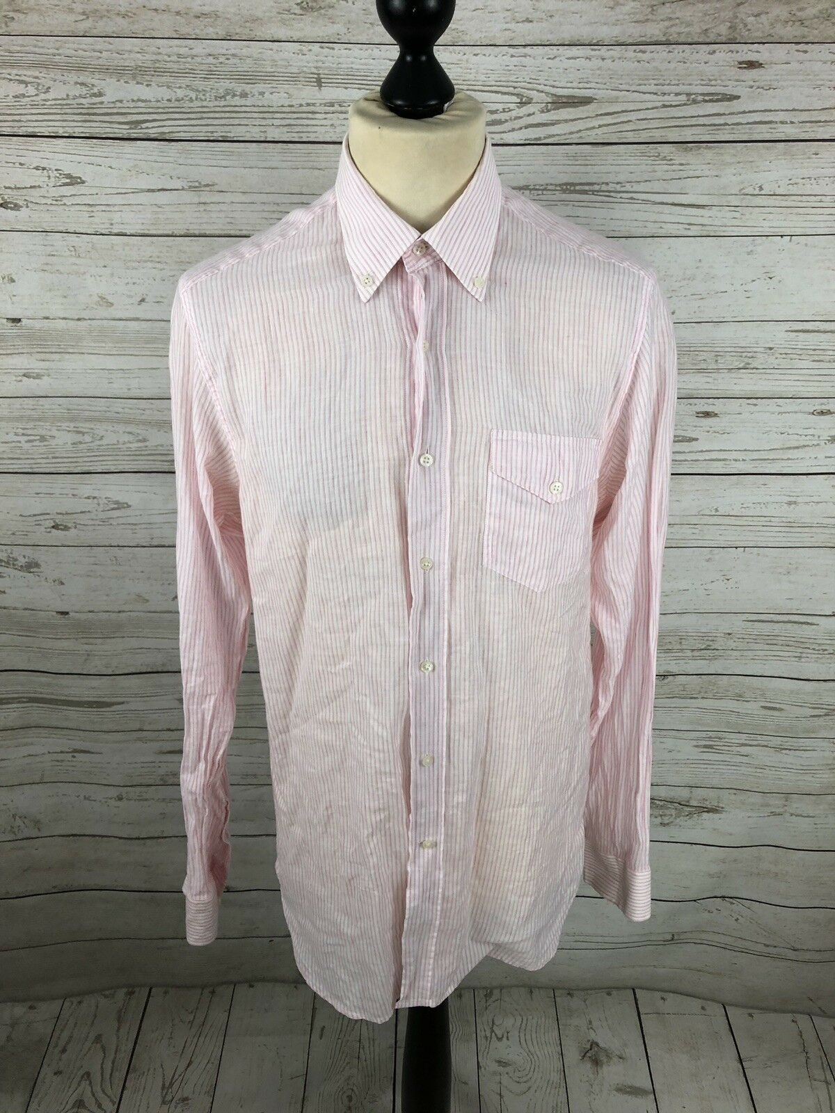 REISS Shirt - Size Medium - Striped - Linen Blend - Great Condition - Men's