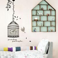DIY Black Birdcage&Bird Wall Sticker Decals Room Decor Mural Art Vinyl UKWS