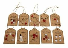 10 hecho a mano navidad papel cartón y botones Craft mensaje de regalo favor Etiquetas
