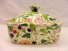 Hedgerow chintz butterdish by Heron Cross Pottery