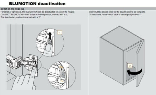 "Blum COMPACT BLUMOTION Soft Close 39C 1-1//4/"" Overlay Cabinet Hinge 39C355B.20"