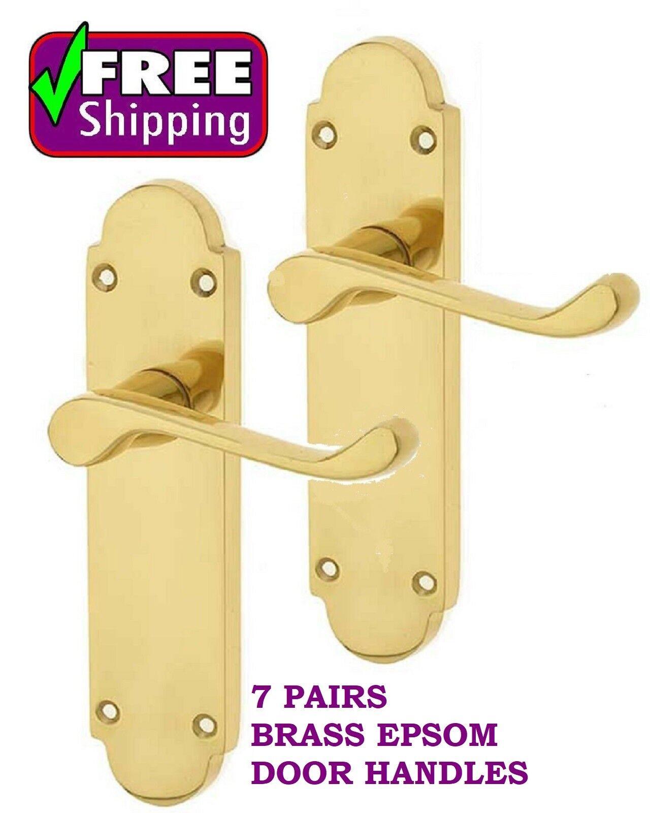 7 Pairs BRASS EPSOM Interior Latch Door Handles 168 x 42mm FREE DELIVERY D1