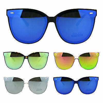 Flat Panel Horn Rim Hipster Color Mirrored Lens Plastic Sunglasses