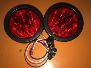 2 Red 10 LED 4 Round Truck Trailer Brake Stop Turn Tail Lights
