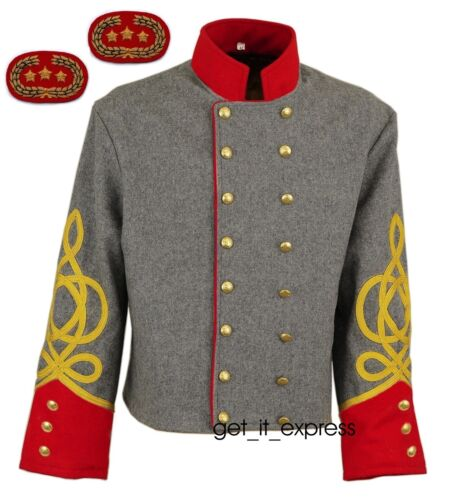 DOUBLE BREASTED CONFEDERATE SHELL JACKET SIZE 34-54 ARTILLERY OFFICERS NEW