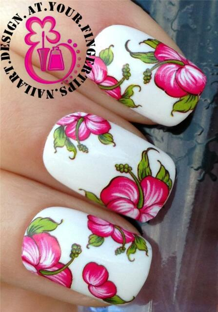 NAIL ART WRAPS WATER TRANSFERS/STICKERS DECALS PRETTY PINK HIBISCUS FLOWERS #173