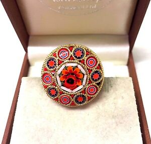 Vintage-Jewellery-Gorgeous-Colourful-Round-Micro-Mosaic-Brooch-Pin