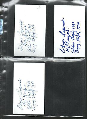3 Edgar Laprade Added Many Stats Auto'ed /signed/auto/hand-signed Index Card C Profit Small Autographs-original