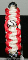 Handmade Red White Paracord Bracelet Curved Buckle European Charm Beads