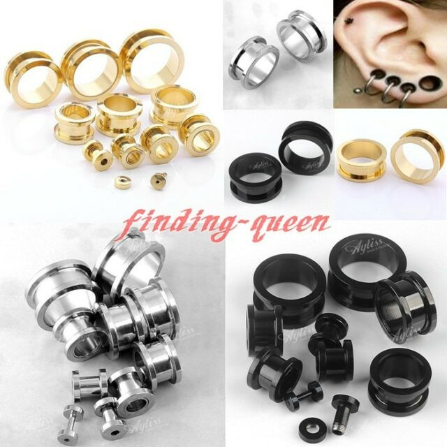 Pair 2-20MM Double Flare Stainless Steel Ear Tunnel Plug Earlets Gauges Expander