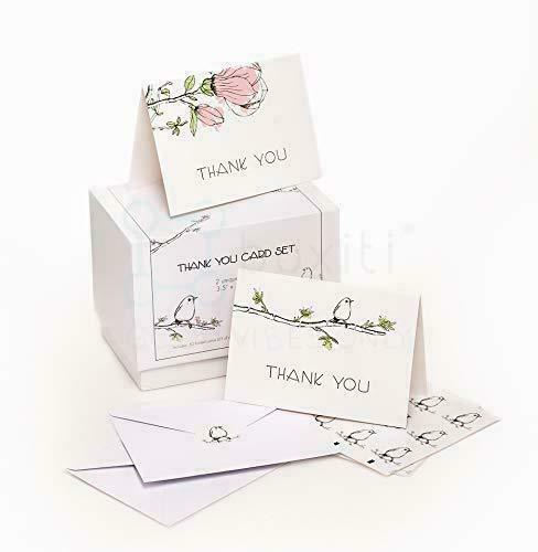Thank You Cards Set 50 cards with Envelopes 2 Design 3.5x5 inch Folded Card
