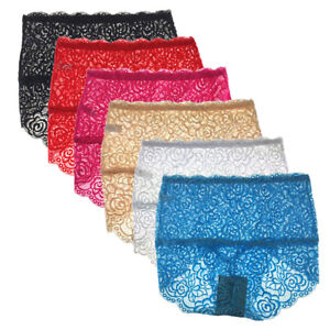 1-Or-4-Pack-Ladies-Sexy-Lace-Tummy-Control-Briefs-High-Waist-Knickers-10-14