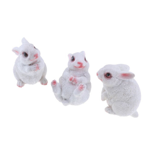 3x Animal Rabbit Figurine Desktop Statue Resin Ornament Garden Wedding Decor