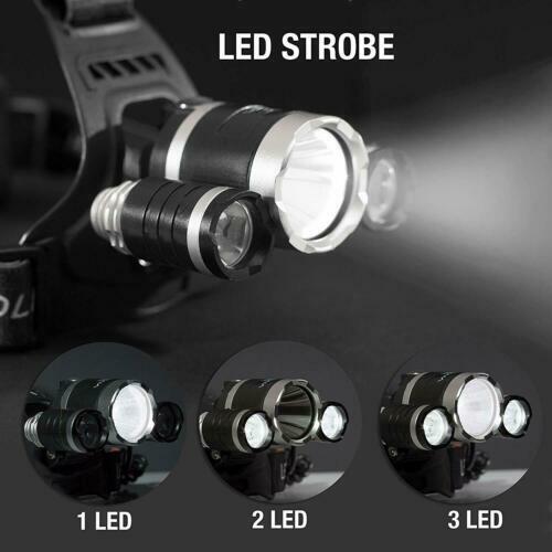 T6 Lampada Frontale LED Torcia Ricaricabile Headligt 18650 Au US Eu Spina UK Hl