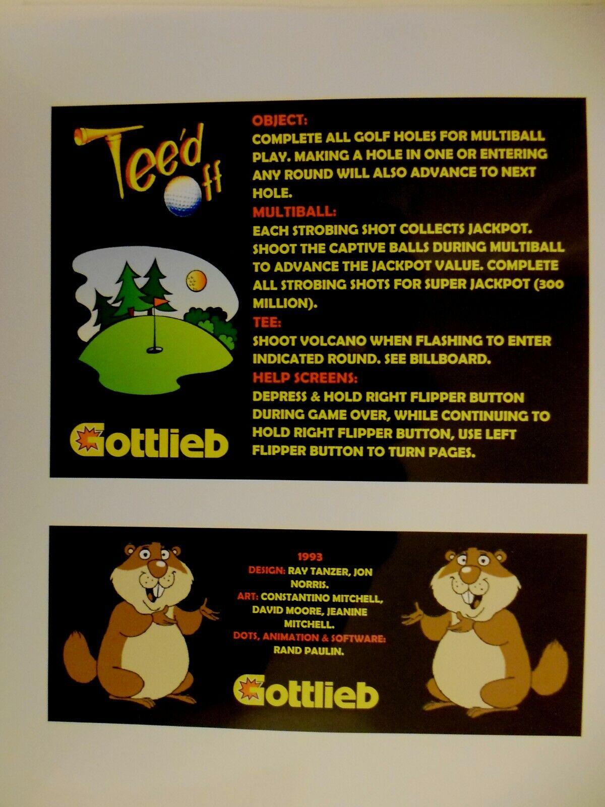 * * 'TEE'D OFF' Gottlieb 1993 Custom Instruction/Apron Cards * * (New)