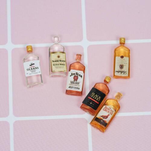 6Pcs//Set Mini Whiskey Model For 1:12 Miniature Dollhouse Kitchen Decor DIY