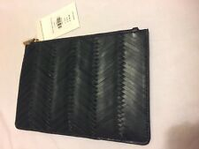 WHISTLES.IRVINGTON.WOVEN LEATHER CLUTCH BAG.BLACK/ GREEN.IDEAL GIFT.ZIP. NEW