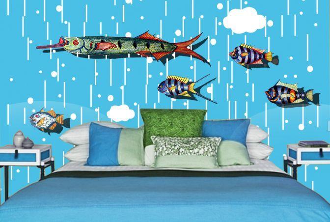 3D Pesci belli 14 Parete Murale Foto Carta da parati immagine sfondo muro stampa