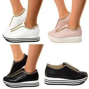 Sneakers Donna in Vera Pelle Nera Zeppa Platform a Righe Entrega Rápida Envío Libre Salida De Encontrar Un Gran YgKwAAMfo