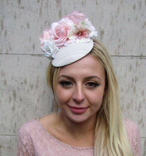 Cream Light Nude Blush Peach Pink Rose Flower Feather Hat Fascinator Floral 6450
