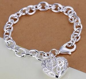 Bracelet-Heart-Charm-925-Sterling-Silver-Filled-Pendant-Bangle-Link-Chain-New