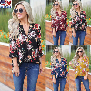 Womens-3-4-Sleeve-V-neck-Floral-Tunic-Tops-Ladies-Summer-Casual-Blouse-Shirt-USA