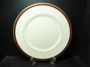 BEAUTIFUL-MYOTT-TUDOR-GOLD-ENCRUSTED-DINNER-PLATE-3-HW720-BURGUNDY-RED-GOOD