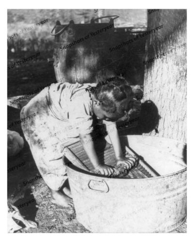 1900s era vintage photo-African American girl helping Mama with laundry-8x10 in