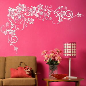Corner Flower Wall Sticker Interior Home Floral Transfers Vinyl