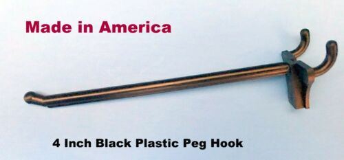 """50 PACK 4 Inch Black Plastic Peg Hooks For 1//8/'/"""" /& 1//4/"""" Pegboard Made in USA"""