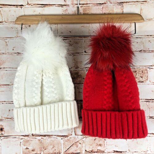 LUSSO pelliccia sintetica Inverno Bobble Pom Pom Cavo Lavorato a Maglia Cappello Crema Bianco Rosso Nero Navy