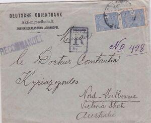 Stamps-Turkey-Adrianopel-Bulgaria-Deutsche-Orientbank-registered-to-Australia