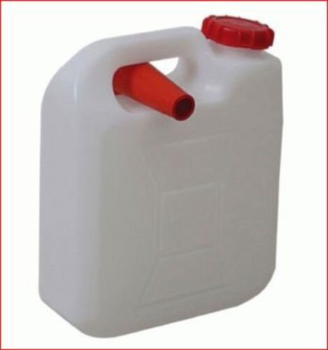 10 Lt Water Jerry Can Plastic Camping Storage Container White + Pourer Food Grad
