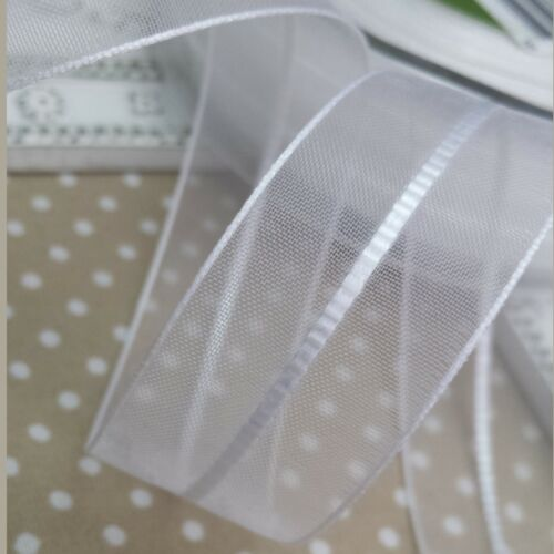 Wedding,Christening,Bridal 23mm Sheer White Ribbon with Satin Stitched centre