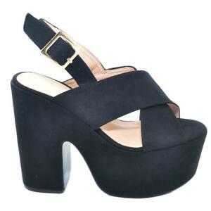 Zeppe platform nera donna con tacco spezzato fascia incrociata sul piede cinturi