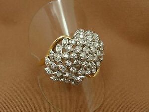 14K-Yellow-Gold-YG-Large-Natural-DIAMOND-Cluster-Cocktail-Ring-Size-9