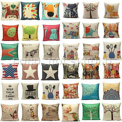 Cotton Linen Retro Various Waist Throw Pillow Case Sofa Cushion Cover Home Decor