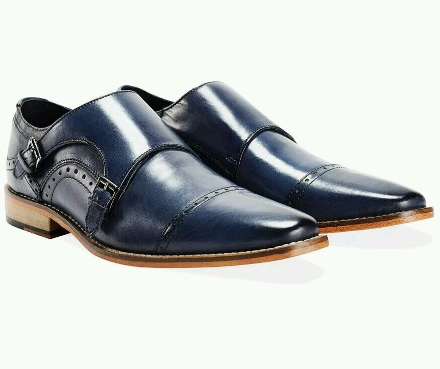 GOODWIN SMITH MEN'S TUNSTEAD BORDO NAVY blueE MONK STRAP SHOES SIZE 10- BRAND NEW
