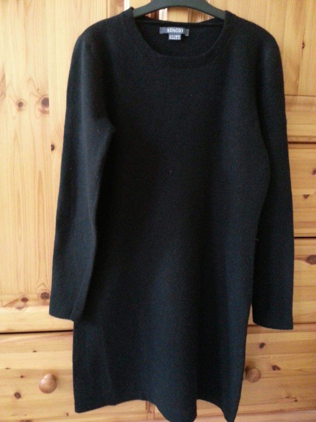 Adagio schönes Wollkleid mit 30% Kaschmir Gr S schwarz 70% Wolle