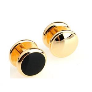 Gold Black Studs Stainless Steel Cuff Links Dress Shirt 1 Pair Cufflinks