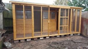 18ft  x 6ft Pigeon Loft With A full netted Aviary 4ft Wide