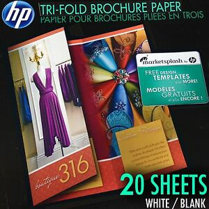 20 sheets hp tri fold matte brochure paper for inkjet printers 8 5