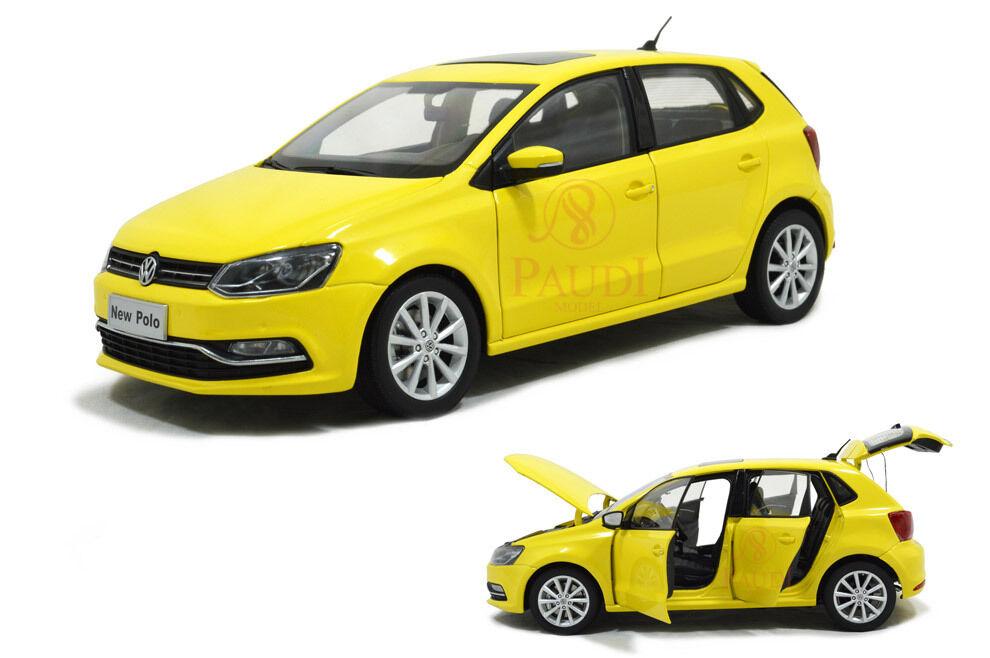 1 18 1 18 Escala Vw Volkswagen Nuevo Modelo Diecast Polo 2014 giallo Coche paudimodel