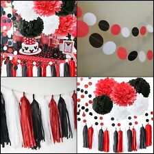 Item 7 Minnie Mouse Party Supplies Kit Baby Birthday Decorations White Black Red Set