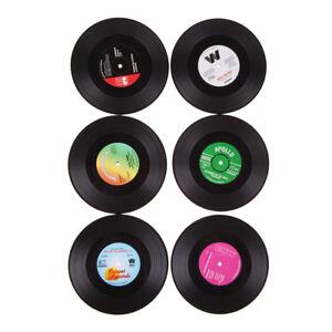 6Pcs-Vinyl-Schallplatte-Silikon-Coaster-Retro-Kaffee-Tee-Tasse-Glasuntersetzer